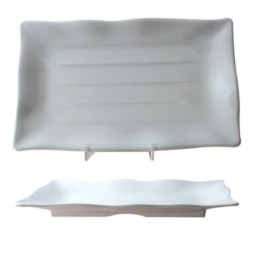 Thunder Group 24140WT 13 1/2 x 9 1/8 Inch Western Classic White Melamine Rectangular Wave Plate, DZ
