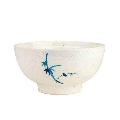 Thunder Group 3006BB 9 Oz 4 3/8 Inch Asian Blue Bamboo Melamine Round White Soup Bowl, DZ