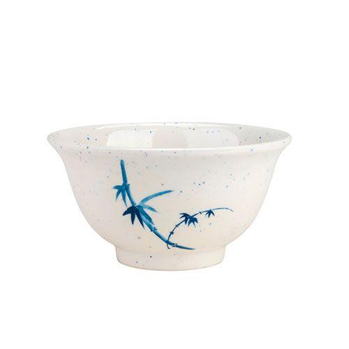 Thunder Group 3008BB 6 Oz 3 3/4 Inch Asian Blue Bamboo Melamine Round White Rice Bowl, DZ