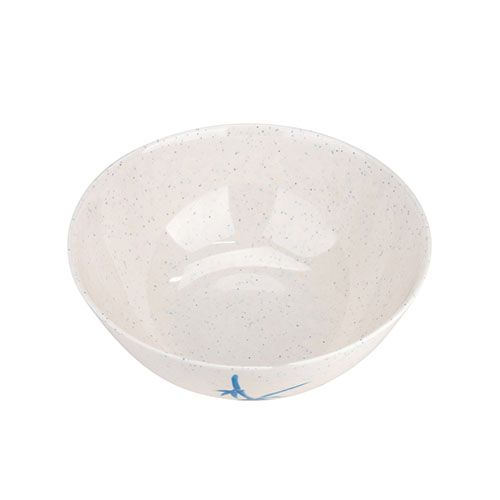 Thunder Group 3506BB 10 Oz 4 1/2 Inch Asian Blue Bamboo Melamine Round White Special Bowl with Lid, DZ
