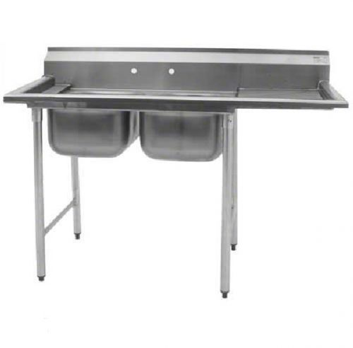 Eagle Group 414-24-2-24R, Stainless Steel Commercial Compartment Sink with Two 24-Inch Bowls and Right Side Drainboard, NSF