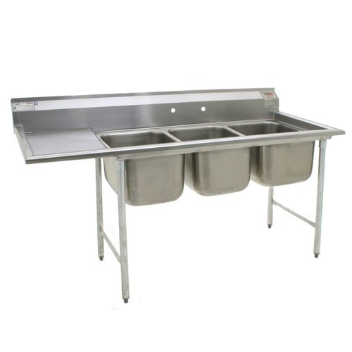 Eagle Group 414-24-3-24L, Stainless Steel Commercial Compartment Sink with Three 24-Inch Bowls and Left Side 24-Inch Drainboard, NSF