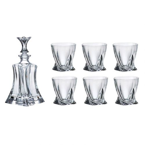 Bohemia Florale Whiskey Set, 1 Bohemian Crystal Glass 23-Ounce Decanter with Stopper and 6 Tumblers