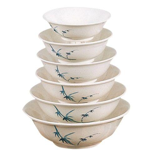 Thunder Group 5085BB 70 Oz 9 3/4 Inch Asian Blue Bamboo Melamine Round Rimless White Bowl, DZ