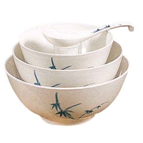 Thunder Group 5208BB 56 Oz 8 Inch Asian Blue Bamboo Melamine Round White Rice Bowl, DZ