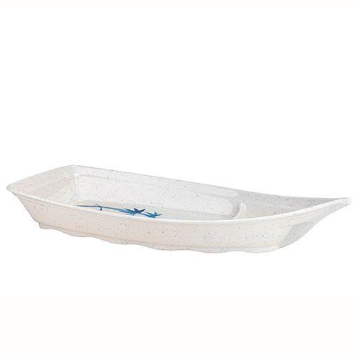 Thunder Group 8004BB 13 Oz 9 1/2 x 4 1/2 Inch Asian Blue Bamboo Melamine Small White Sushi Boat, DZ