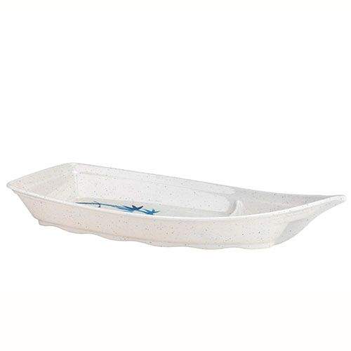 Thunder Group 8005BB 22 Oz 12 x 5 1/2 Inch Asian Blue Bamboo Melamine Medium White Sushi Boat, DZ