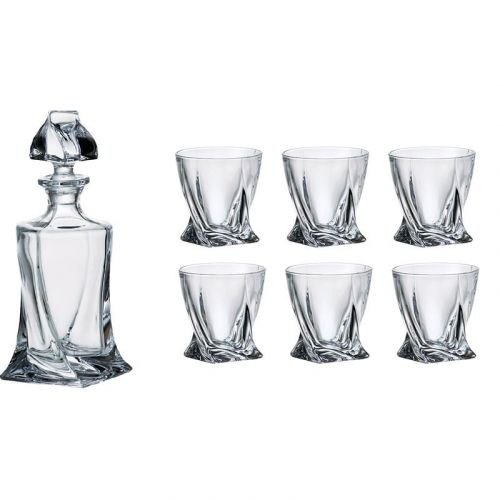 Bohemia Quadro Whiskey Set, 1 Bohemian Crystal Glass 23-Ounce Decanter with Stopper and 6 Tumblers