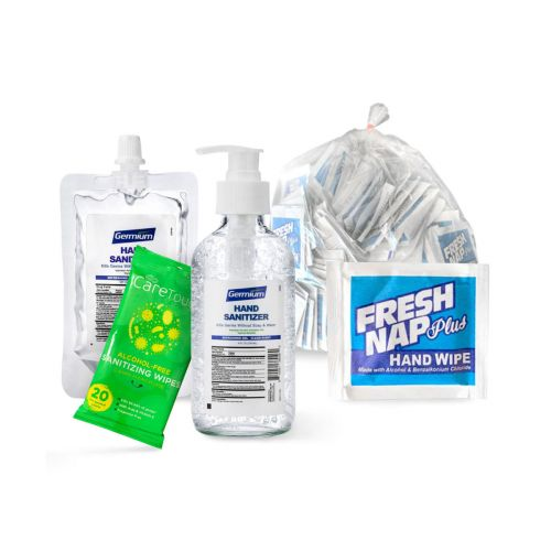 Sanitizing Kit-8: Gel Hand Sanitizers and Wipes
