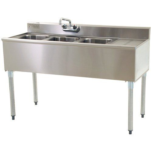 Eagle Group B5R-18, 5-Ft 3-Compartment Under Bar Sink with Right Drainboard, NSF, KCL