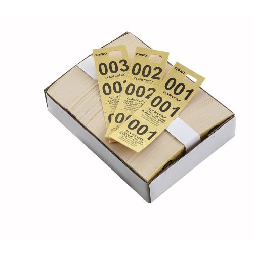 Winco CCK-5YL, Yellow Coat Check Tags, 500/CS