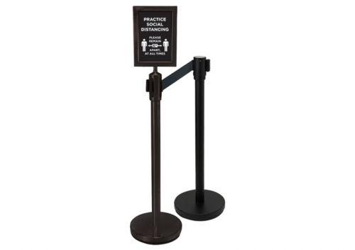 Winco CGS-SETA 2-Piece Black Stanchion Set w/Social Distancing Sign, EA