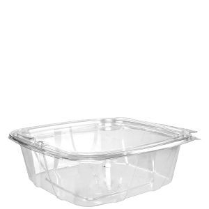Dart CH48DEF 48 Oz Clear PET Tamper-Evident Containers with Flat Lid, 200/CS