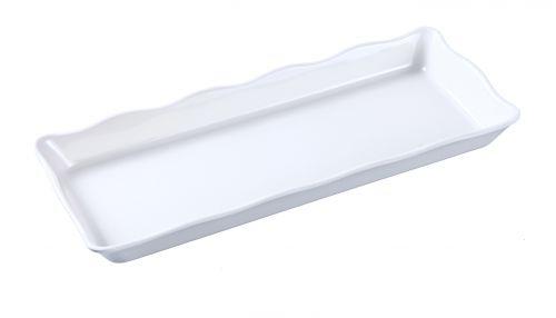 Yanco DC-6014W 14x5.5x1-Inch Deli Scallop Edged White Melamine Display Tray, 6/CS