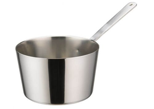 Winco DCWB-103S, 4-Inch Dia Stainless Steel Mini Taper Sauce Pan with Long Handle
