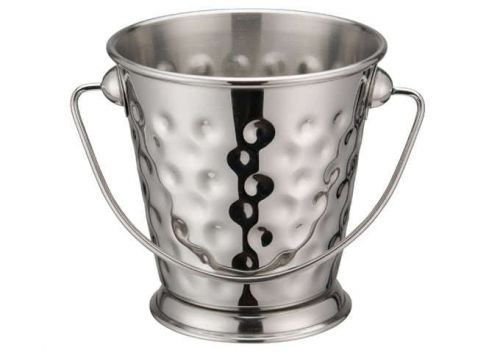 Winco DDSA-102S, 3-1/2-Inch Dia Stainless Steel Mini Serving Pail with Handle, Hammered