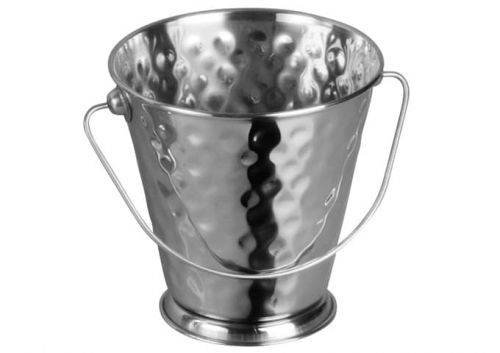 Winco DDSA-103S, 5-Inch Dia Stainless Steel Mini Serving Pail with Handle, Hammered