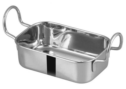 Winco DDSB-103S, 5x3-3/8-Inch Stainless Steel Rectangular Mini Roasting Pan, 2 Handles