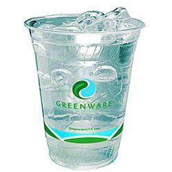 Fabri-Kal GC12S, 12-Ounce Greenware Clear PLA Cold Cup, 1000/CS, BPI