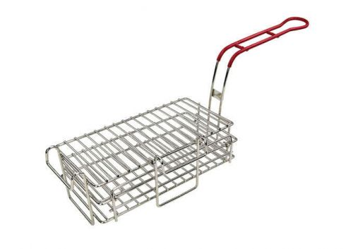 Wincо FB-03, 11-1/2-Inch Stainless Steel Chimichanga/Burrito Fry Basket, Coated Handle, Red, NSF