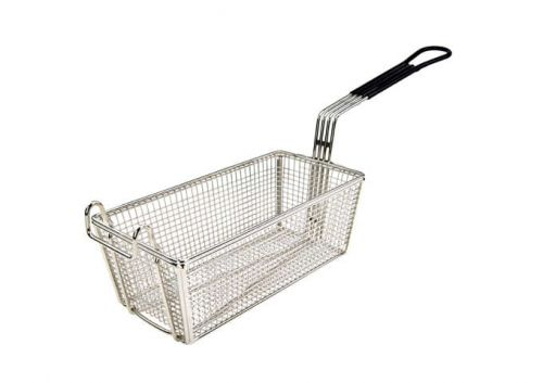 Wincо FB-05, 11-Inch Stainless Steel Fry Basket, Coated Handle, Black, NSF