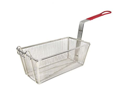 Wincо FB-25, 12-7/8-Inch Stainless Steel Fry Basket, Coated Handle, Red, NSF