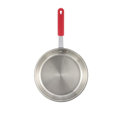 Winco FPT3-12, 12-Inch 3-Ply Fry Pan with Red Silicone Sleeve