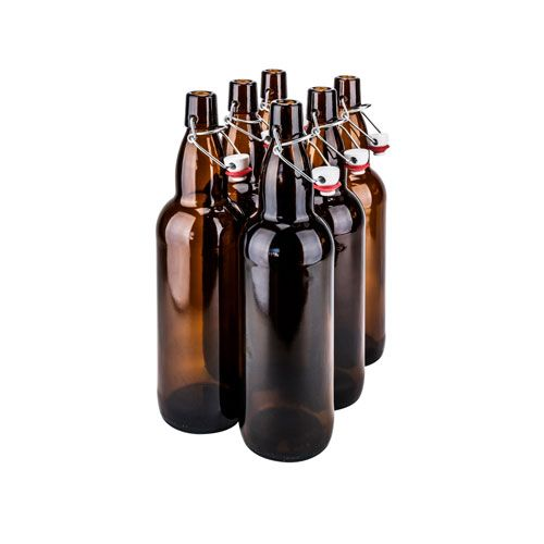 SafePro GB16BR, 0.5L / 16.9-ounce Brown Glass Bottle with Stopper,  EA