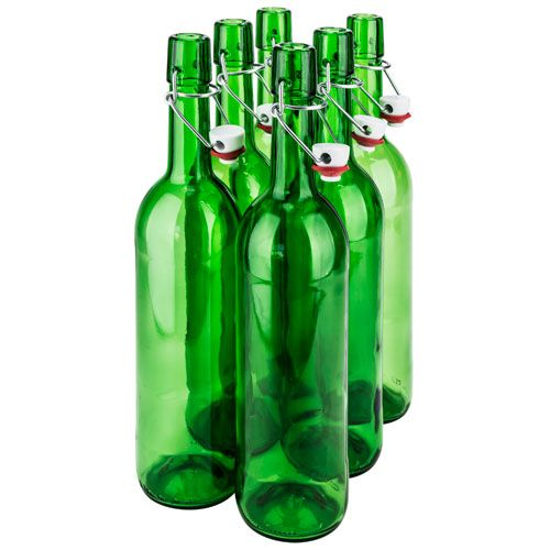 SafePro GB25GR, 0.75L / 25.4-ounce Green Glass Bottle with Stopper, EA