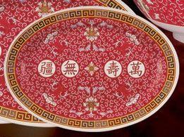 Yanco LG-2009 9-Inch Longevity Asian Style Melamine Red Oval Plate, 24/CS