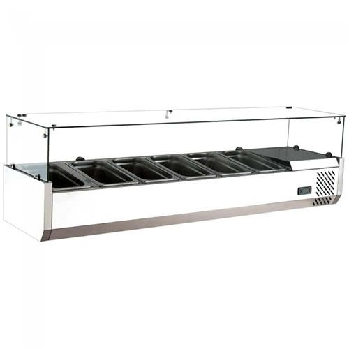 Marchia MTR6 60-inch Refrigerated Countertop Salad Bar, Topping Rail