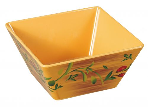 Yanco OL-409 4 Qt 9.5x5.25-Inch Olive Melamine Deep Square White Bowl, 24/CS