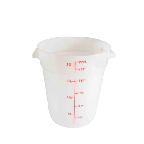 Thunder Group PLRFT322PP, 22-Quart Polyethylene Round Food Storage Container, White