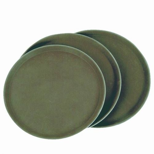 Thunder Group PLST1100BR, 11-Inch Polypropylene Rubber Lined Round Serving Tray, Brown