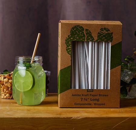 Fineline Settings PSWK-X 7.75-Inch Paper Wrapped Kraft Jumbo Straws, 400/PK
