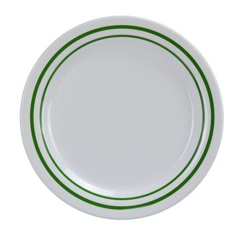 Yanco PT-107 7.25-Inch Pine Tree Melamine Round White Dinner Plate, 48/CS