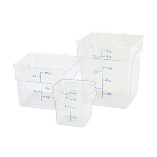 Winco PTSC-22, 22-Quart Polypropylene Square Storage Container, Translucent