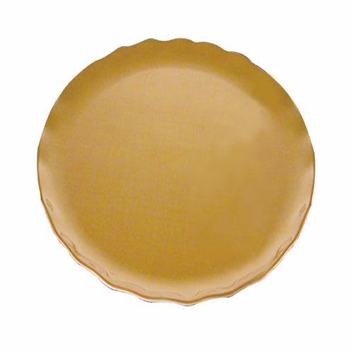 Thunder Group RF1010G 10 1/2 Inch Diameter Western Melamine Gold Pearl Round Dinner Plate, EA