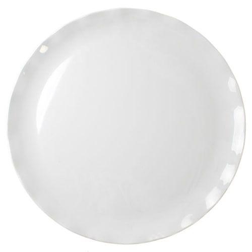 Thunder Group RF1016W 16 Inch Western Black Pearl Round Melamine White Dinner Plate, EA