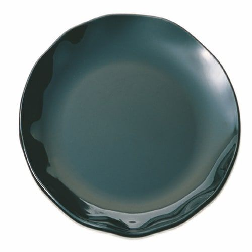 Thunder Group RF1018B 18 Inch Western Black Pearl Round Melamine Black Dinner Plate, EA