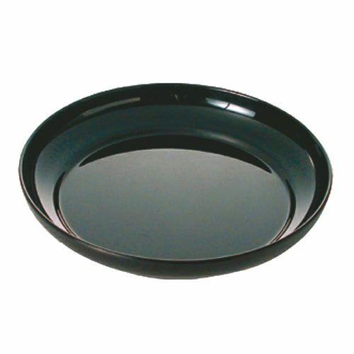 Thunder Group RF1112B 73 Oz 12 Inch Western Black Pearl Round Melamine Black Salad Platter, EA
