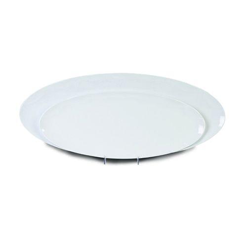 Thunder Group RF2024W 24 x 10 Inch Western Black Pearl Melamine Rectangular White Platter, EA