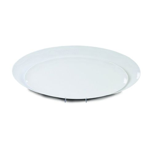 Thunder Group RF2030W 30 x 12 Inch Western Black Pearl Melamine Rectangular White Platter, EA
