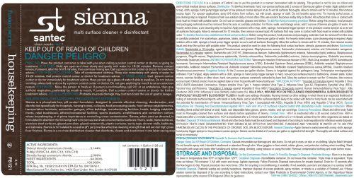 SANTEC Sienna 4/CS 1-Gallon Disinfectant Concentrate, 412104/SI
