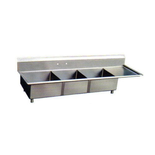Sapphire SMS-3-1818R, 18x18-Inch 3-Compartment Stainless Steel Sink with Right Drainboard