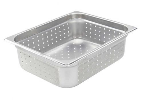 Winco SPJH-204PF, Perforated Steam Pan, Half-Size 4-inch, 22 Gauge Stainless Steel, NSF