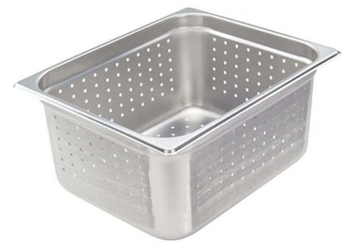 Winco SPJH-206PF, Perforated Steam Pan, Half-Size 6-inch, 22 Gauge Stainless Steel, NSF