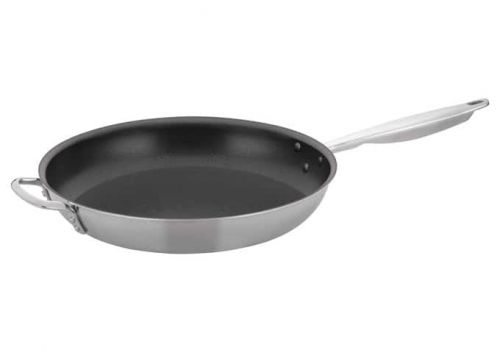 Winco TGFP-14NS, 14-Inch Dia Tri-Ply Stainless Steel Fry Pan w/о Lid, Non Stick, Helper Handle, NSF