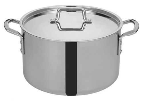 Winco TGSP-16, 16-Quart Tri-Ply Stainless Steel Stock Pot w/Lid, NSF