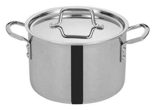 Winco TGSP-6, 6-Quart Tri-Ply Stainless Steel Stock Pot w/Lid, NSF